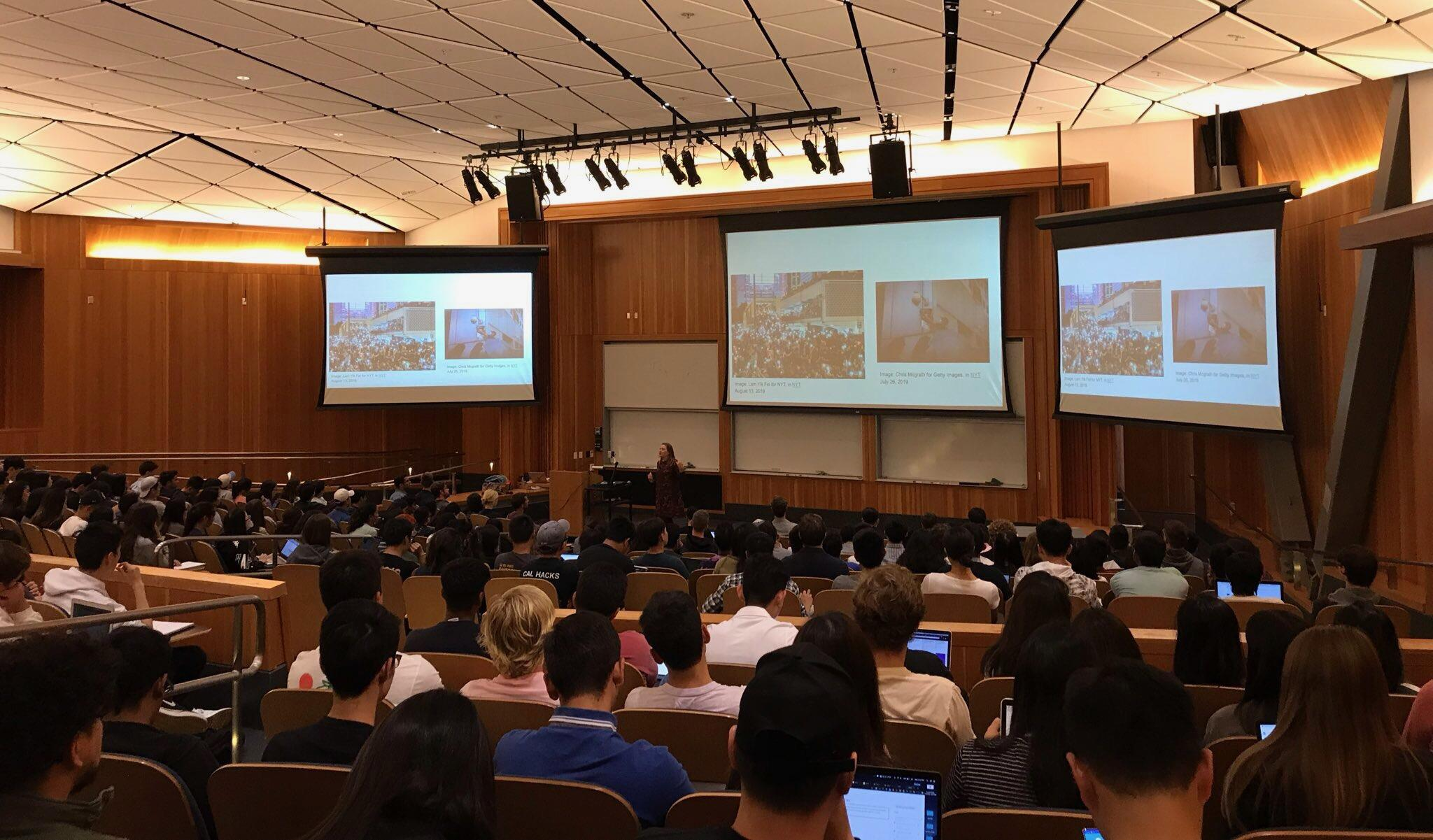 First lecture of Data 104 in the Fall 2019 semester in Li Ka Shing Auditorium