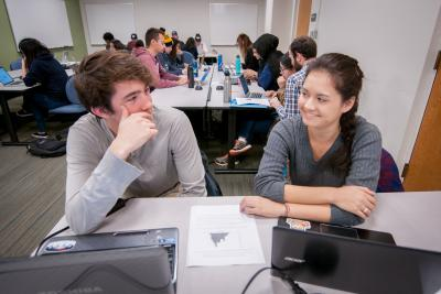 Data science students collaborating